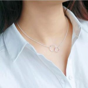 Interlocking Circles Sterling Silver Necklace